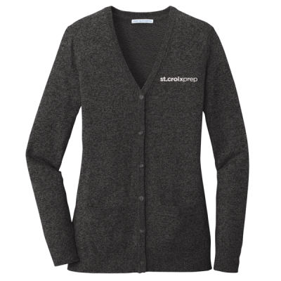 Port Authority - Ladies Marled Cardigan Sweater - Embroidered Logo Thumbnail